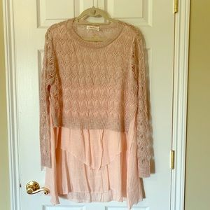 Light pink long sleeve tunic top